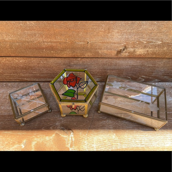 Glass Jewelry boxes (3 included)